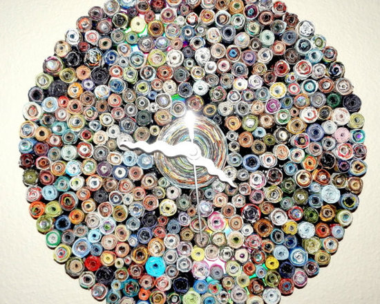"""Eco Friendly Furnture and Lighting - This eco friendly paper wall clock is made with lots of love and lots of paper magazine beads...a few clear rhinestones, and a quartz clock. This clock has neutral colors as opposed to some of the really bright paper clocks in my shop. This unique clock will add warmth to any room. The hands on this clock are silver swirly hands. There are approximately 250 rolled magazine beads on the record and one large rolled magazine """"bead"""" in the center, each painstakingly hand rolled by me. Requires 1 AA battery (included)"""