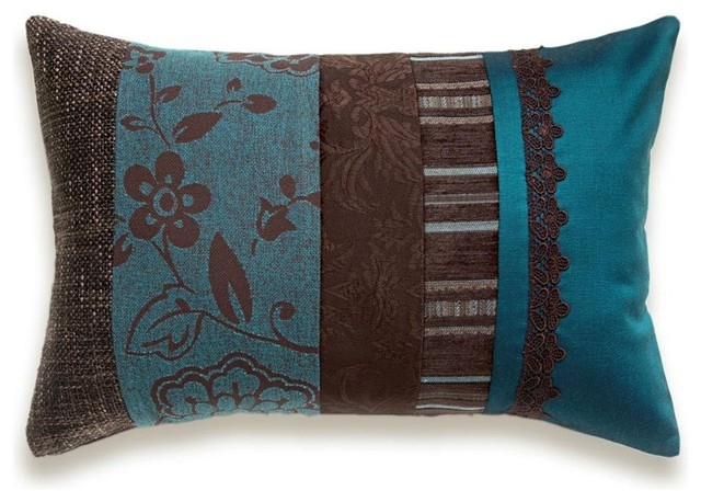 Teal Blue Chocolate Brown Lumbar Pillow Case 12 x 18 in IRMA DESIGN