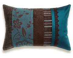 Teal Blue Chocolate Brown Lumbar Pillow Case 12 x 18 in IRMA DESIGN contemporary pillows
