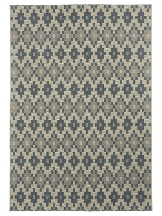 """Finesse Pueblo rug in Charcoal - An esteemed """"Capel Anywhere"""" rug collection woven on precision machine looms in Europe. These versatile rugs can be used in high traffic areas indoors - like kitchens and sunrooms - or to dress up covered porches and decks outside."""