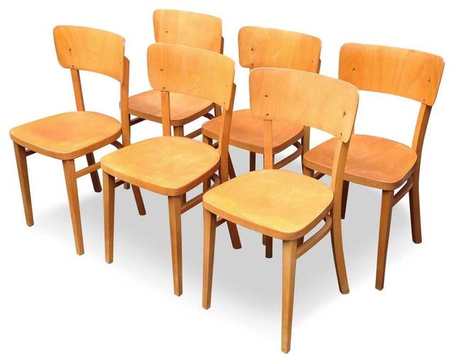 6 chaises de bistrot baumann 1950 industriel chaise de salle manger other metro par. Black Bedroom Furniture Sets. Home Design Ideas