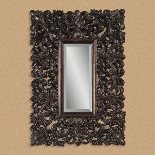 Deep Brown with Gold Mirror - 28W x 40H in. traditional-mirrors