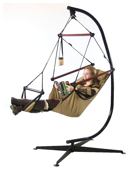 Sunnydaze Decor - Sunnydaze Hanging Hammock Chair W/ Pillow, Drink Holder & Stand Combo - Features of the Hanging Hammock Chair: