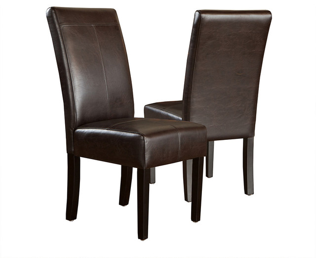 Stella marbled brown leather dining chair set of 2 for Brown leather dining chairs
