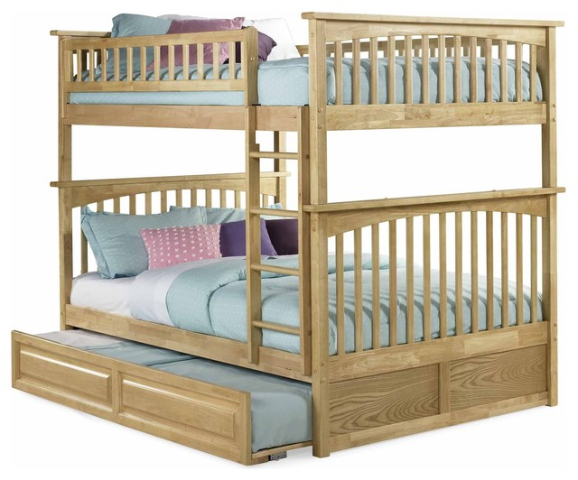 Maple Finish Solid Wood Twin Over Twin Bunk Bed Modern