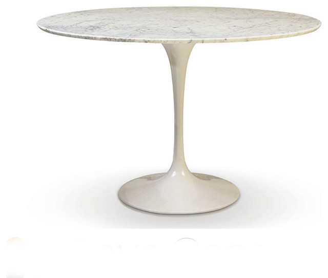 Round Tulip Table White Cararra Marble 48 Contemporary Dining Tables