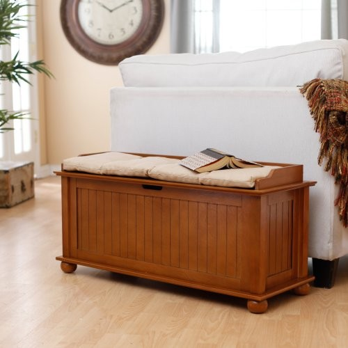 Morgan Traditional Flip Top Storage Bench - Pecan traditional-bedroom-benches