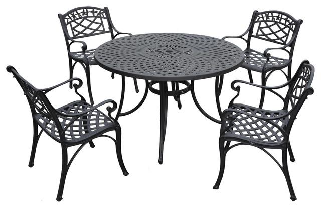 "Sedona 48"" Five-Piece Cast Aluminum Outdoor Dining Set traditional-dining-sets"