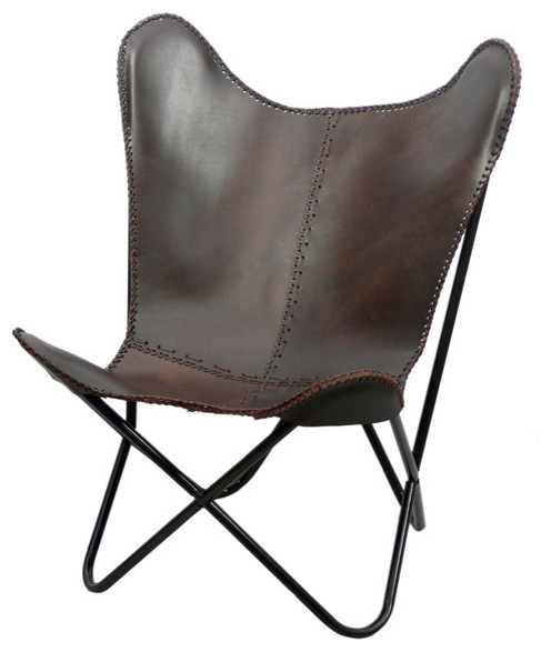 brown leather butterfly chair traditional armchairs. Black Bedroom Furniture Sets. Home Design Ideas