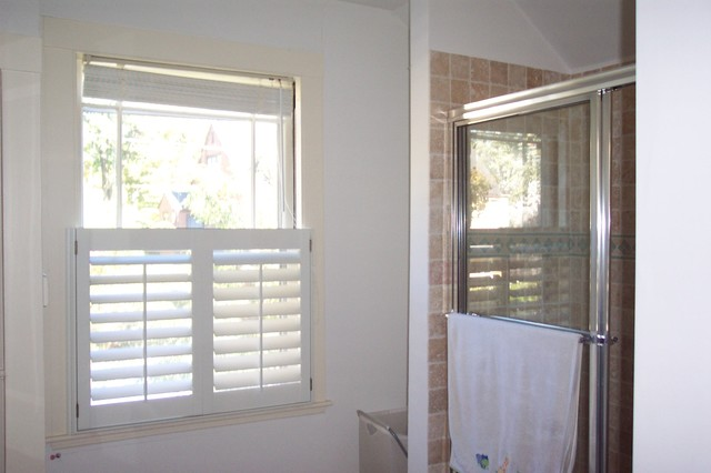 Cafe style shutters traditional bathroom boston by for Bathroom window styles