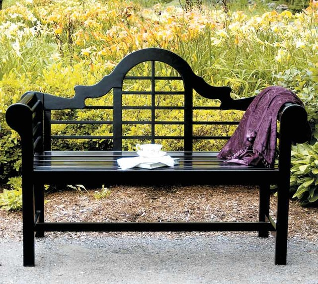 All Weather Black Park Bench W Arched Back Traditional Outdoor Benches By Shopladder