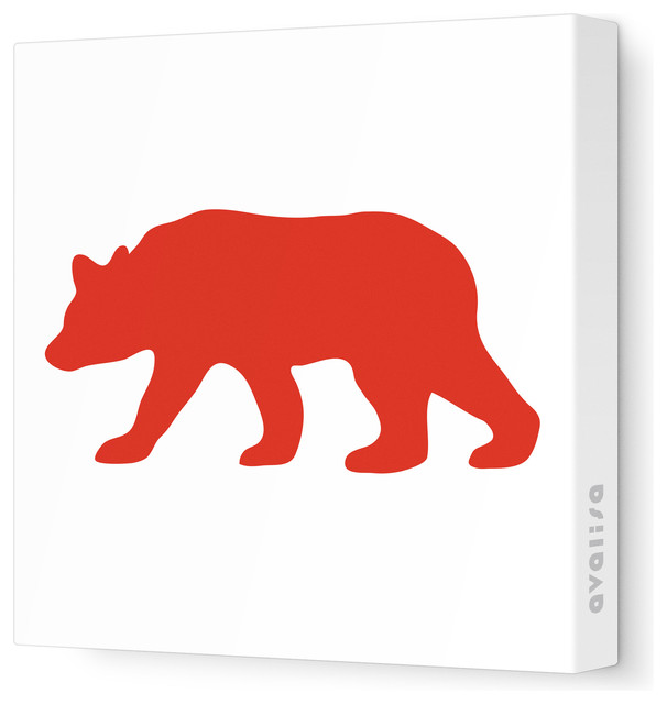 "Silhouette - Bear Stretched Wall Art, 28"" x 28"", Red contemporary-kids-wall-decor"