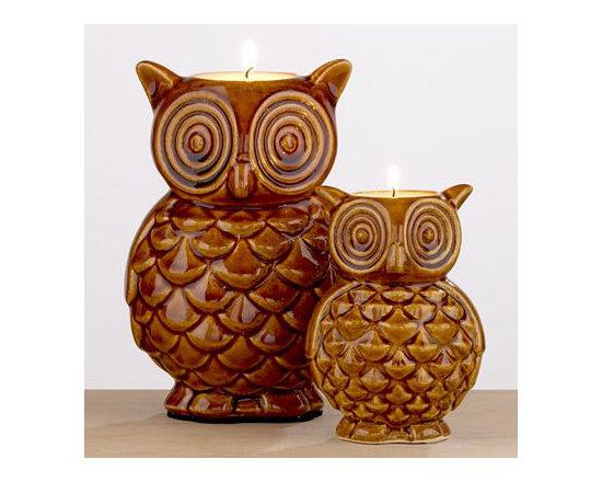 World Market - Brown Ceramic Owl Candles -
