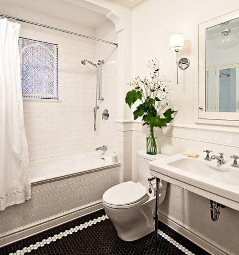 """Delia Shades' Custom Solar Shade in """"Moorish Arch"""" Pattern traditional-bathroom"""