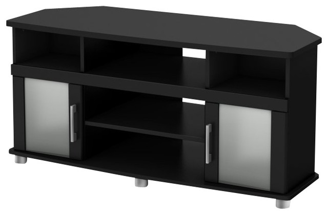 South Shore City life Collection Corner TV Stand in Pure Black modern-media-storage