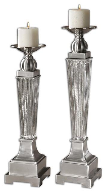 Canino Mercury Glass Candleholders, Set of 2 traditional-candleholders