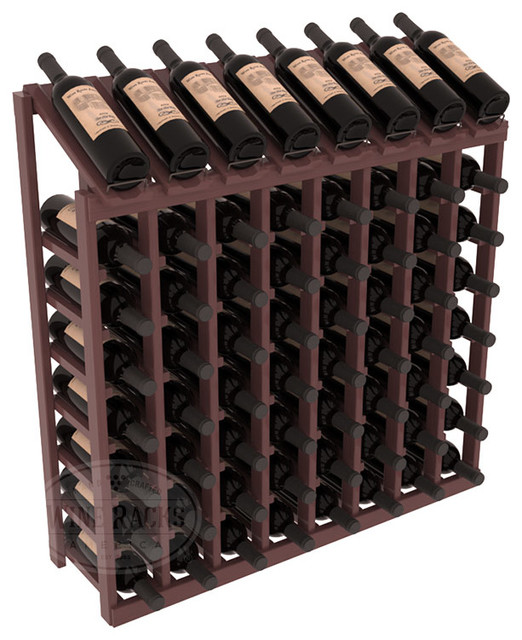 64 Bottle Display Top Wine Rack in Pine, Walnut Stain + Satin Finish contemporary-wine-racks