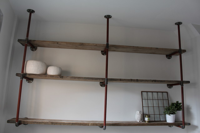 Industrial reclaimed scaffolding plank and steel pipe made to measure furniture