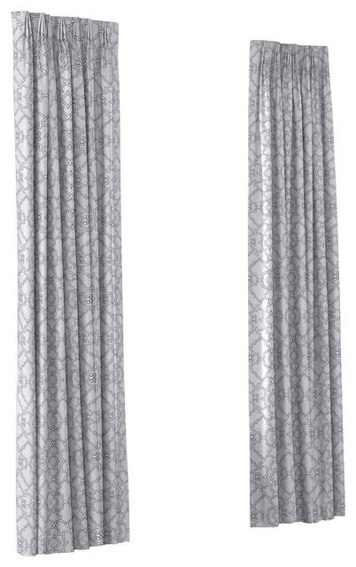 Pale Gray Scroll Trellis Custom Euro Pleat Drape Single Panel contemporary-curtains