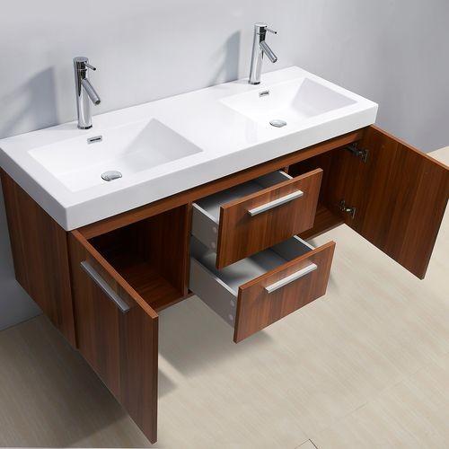 Midori 54 inch Double Sink Plum Bathroom Vanity  Contemporary  los
