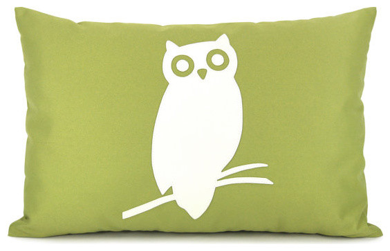 Outdoor Pillow Cover, Cream Owl Applique on Green by Classic By Nature modern-outdoor-pillows