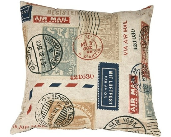 Pillow Decor - Pillow Decor - Vintage Postage Stamp Throw Pillow - Take a step back in time with The Vintage Postage Stamp Throw Pillow. This fantastic pillow will add contemporary vintage charm to your home decor. The detailed print runs throughout the pillow, which is finished with a color matched zipper. You don't have to be a stamp collector to love the vintage charm of this throw pillow.