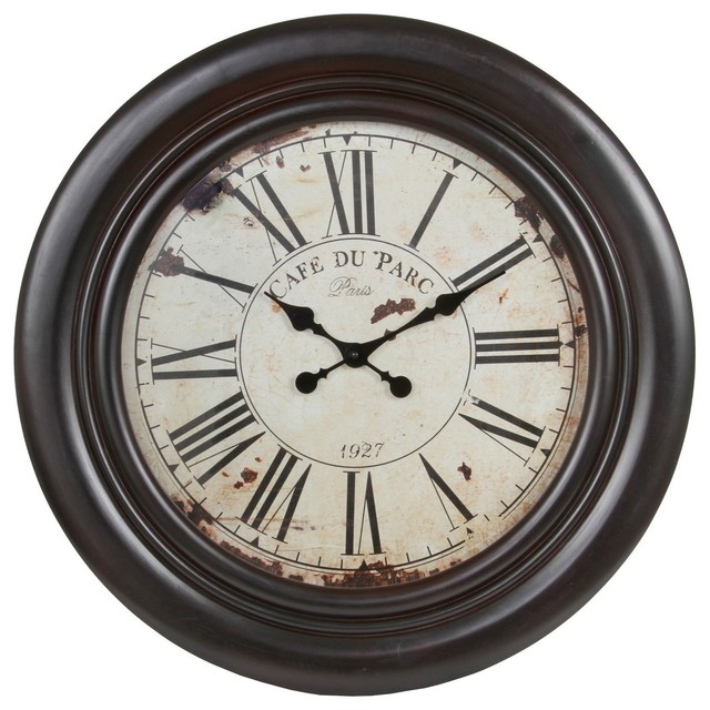 Vintage Brown 28 Inch Wooden Wall Clock Contemporary