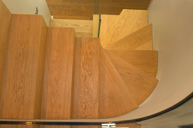 Zig Zag winder staircase, European Oak and Glass contemporary