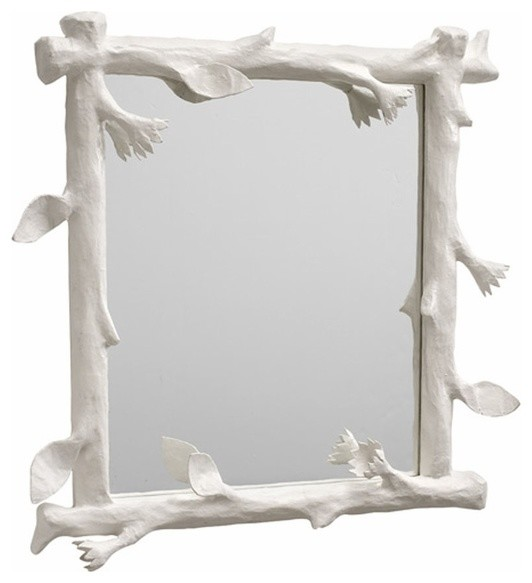 Funky Faux Bois Mirror, White eclectic-mirrors