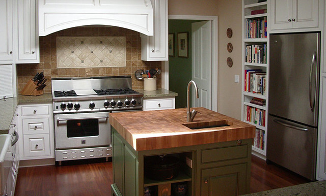 Oak Butcher Block Kitchen Island : Oak Butcherblock Island Countertop by Grothouse - Traditional - Kitchen Countertops - sacramento ...