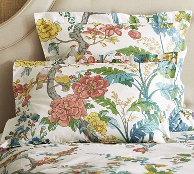 Zinnia Palampore Organic Cotton Duvet Cover, Twin, Blue traditional-duvet-covers-and-duvet-sets