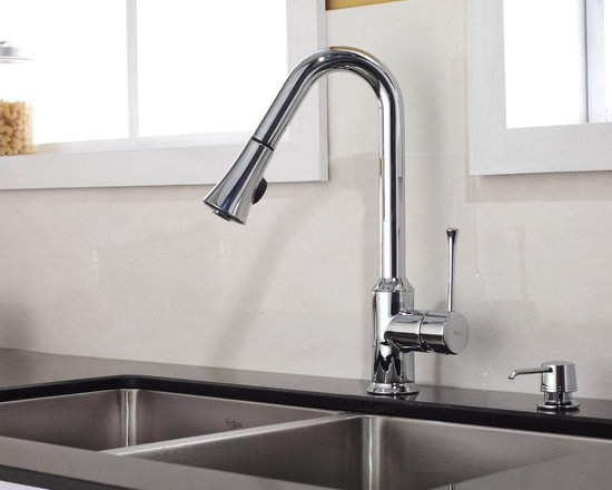 Kraus Single Lever Pull Out Kitchen Faucet Chrome KPF-1650CH - •	Update the look of your kitchen with this multi-functional Kraus pull-out faucet