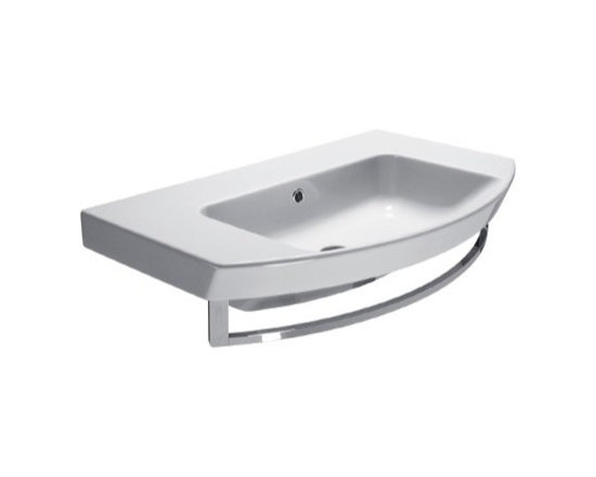 "GSI - Unique Contemporary Curved Wall Mounted or Vessel Bathroom Sink - This wall mounted or above counter vessel sink has a unique contemporary design. It is designed and manufactured by GSI in Italy. Stylish curved rectangular sink includes overflow and the option of no faucet hole (as shown), a single hole, or 3 holes. Sink dimensions: 31.50"" (width), 7.10"" (height), 19.70"" (depth)"