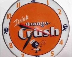 American Retro Double Bubble Orange Crush Glass Clock eclectic-clocks