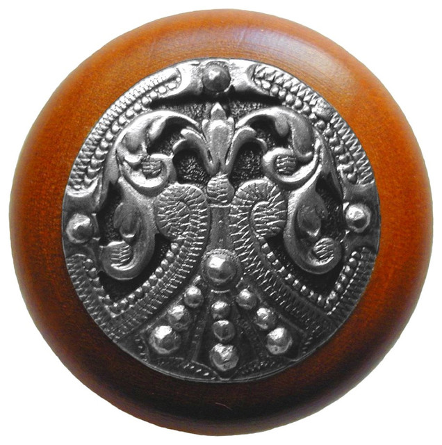 Notting Hill Regal Crest/Cherry Wood Knob - Brilliant Pewter traditional-cabinet-and-drawer-knobs