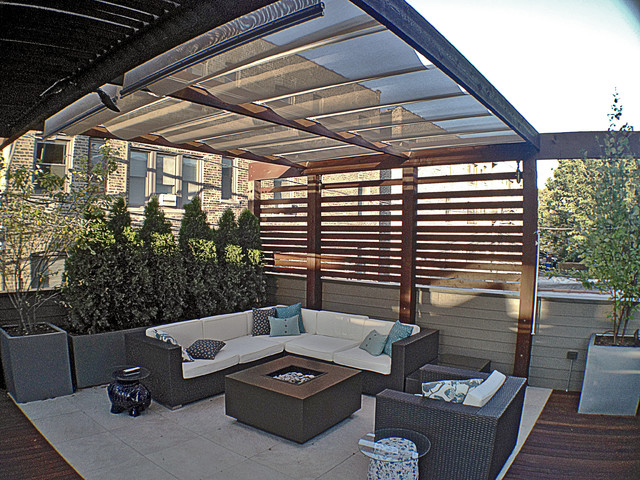Lakeview garage rooftop deck contemporary deck chicago by reveal design llc - Houses garage deck rooftop party ...
