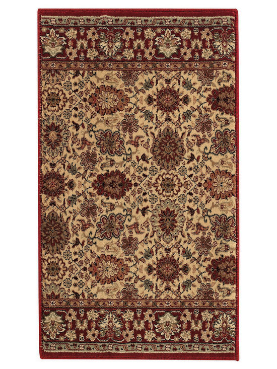 Estates Herati runner roll rug in Ivory - Imported from one of the finest mills in Europe, this beautiful collection of runner rugs is created on precision Wilton machine looms of the finest 100% Olefin yarn.