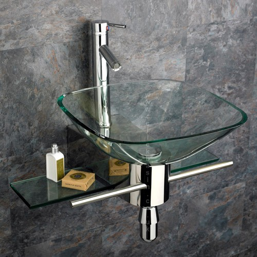 Padova Square Clear Glass Wall Mounted Basin, Stainless Mount and Tap contemporary bathroom sinks