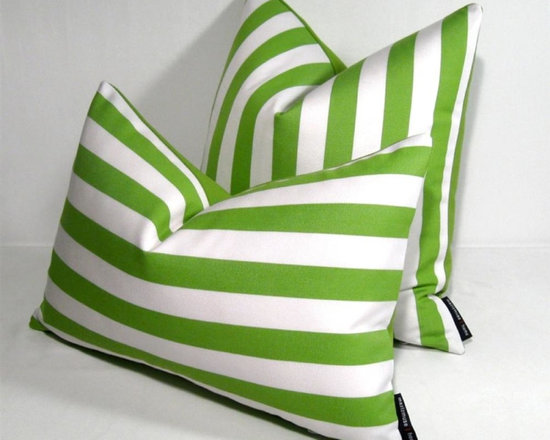 """Lime Green White Stripe Outdoor Decor Cushion 12x18"""" - Bold Lime green and white striped Outdoor pillow for a space tht demands style! Crafted in Sunbrella outdoor fabric for the patio, boat or anylow maintenance indoor or outdoor space where style will not be compromised! Zippered closure. Lime green Sunbrella reverse side."""