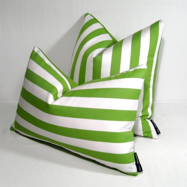 "Lime Green White Stripe Outdoor Decor Cushion 12x18"" - modern"