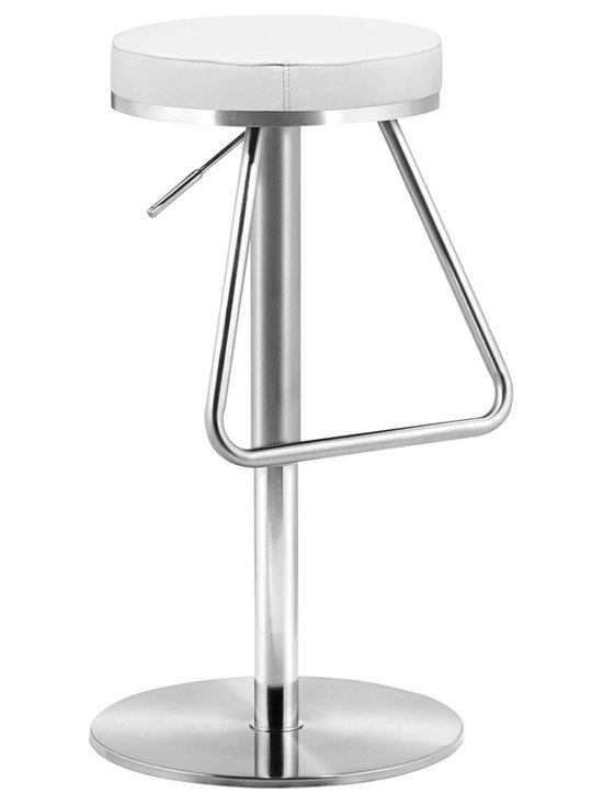 "Zuo - Zuo Soda White Adjustable Height Bar or Counter Stool - The height of this streamlined modern backless bar stool is adjustable to fit any bar or dining counter. A soft white leatherette cushion sits atop a stainless steel base with a large stirrup-type footrest.  A beautiful design from the Zuo Modern collection. White leatherette cushion. Stainless steel frame. Height adjusts from 22"" to 31"". Seat is 14"" wide and 14"" deep.  White leatherette cushion.  Stainless steel frame.  Height adjusts from 22"" to 31"".  Seat is 14"" wide and 14"" deep.  Weight capacity up to 250 lbs."