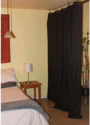 Black Fabric Curtain Room Divider Modern Screens And