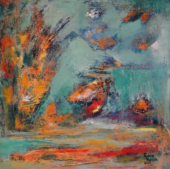 Tropical Fish Abstract Art Original By Robin's Art contemporary-artwork