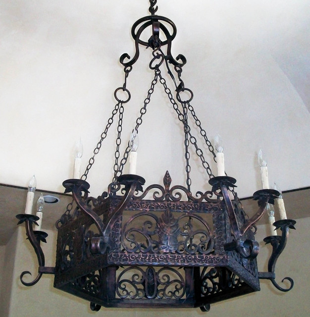 rustic wrought iron chandelier rustic chandeliers other metro by san marcos iron doors. Black Bedroom Furniture Sets. Home Design Ideas