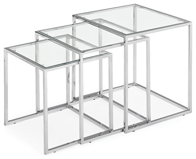 silhouette set of 3 glass and chrome nesting accent tables - contemporary