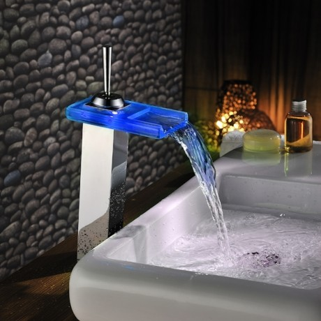 Automatical Color Changing LED Bathroom Faucet Single Hole modern-bathroom-faucets-and-showerheads
