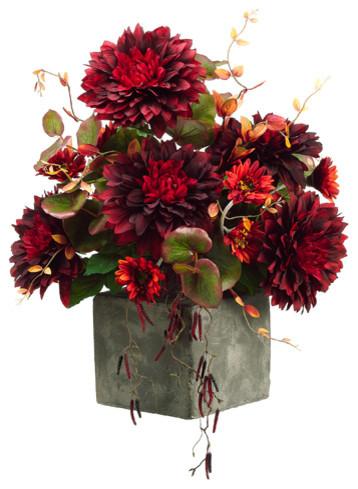 28 h x 23 w x 23 l dahlia gerbera daisy in terra cotta vase burgundy flame contemporary - Terras arrangement ...