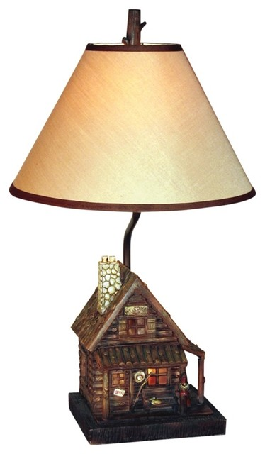 Country - Cottage Log Cabin Night Light Table Lamp ...
