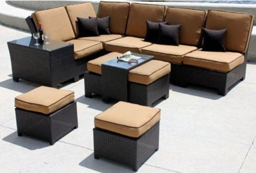 Clemente Collection Resin Wicker Outdoor Sectional Set - Seats 7 ...