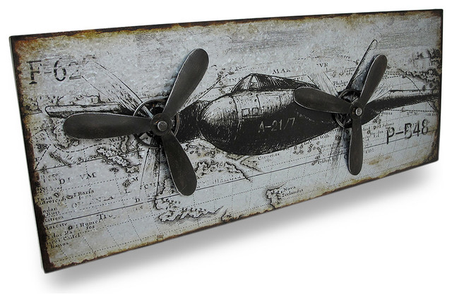 Vintage Aviation Wall Decor : Vintage military style airplane metal wall panel with